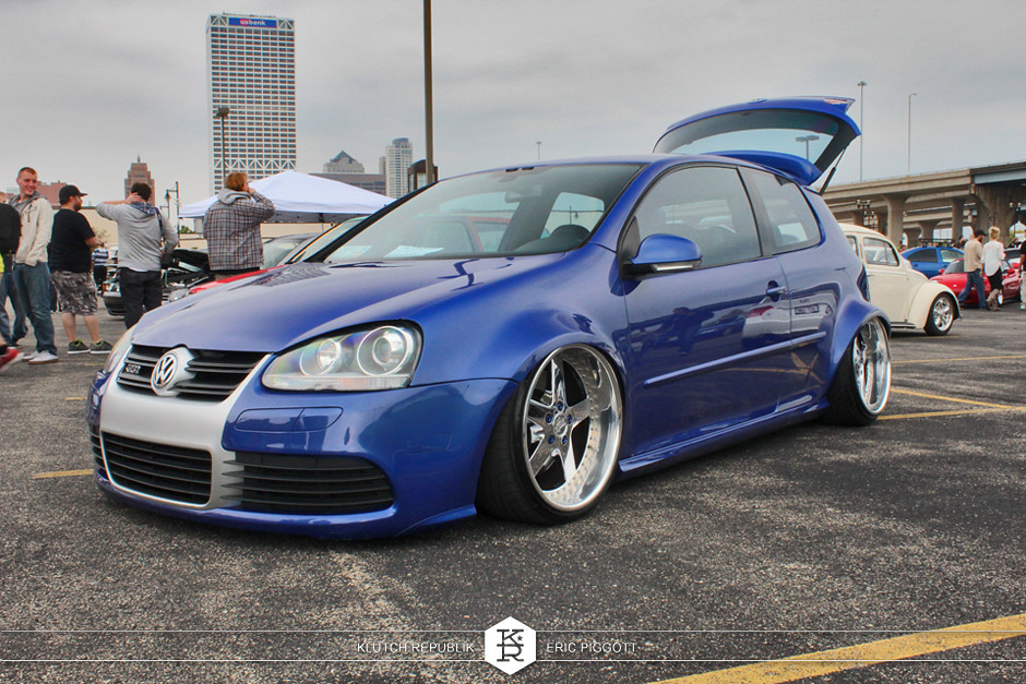 blue vw mk5 golf rabbit gti r32 wide body dubs downtown 2013 slammed dropped dumped bagged static coilovers hella flush stanced stance fitment low lowered lowest camber wheels tucked 16s 17s 18s 19s 20s 3piece 1 piece custom airbags scene scenester