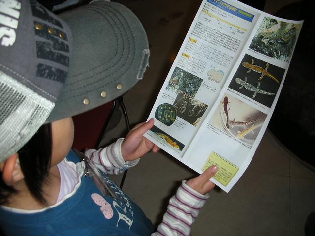 カスミサンショウウオの高地型についての資料をもらい,説明を聞く.