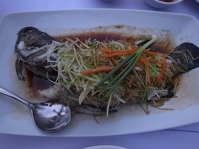 <p>h)水槽からやっと捕まえたお魚は煮つけで頂く。や~満足。</p>