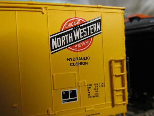 Close up details on an Athearn H.O Scale model of a Chicago & NorthWestern Railroad 50 foot double plug door box car. by Eddie from Chicago