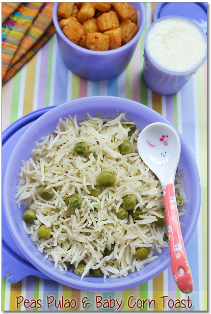 Kids lunch box menu idea1 peas pulao baby corn toast sharmis peas pulao baby corn toast forumfinder Gallery