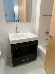 floor, room, bathroom cabinet, plumbing fixture, bathroom, flooring, sink,