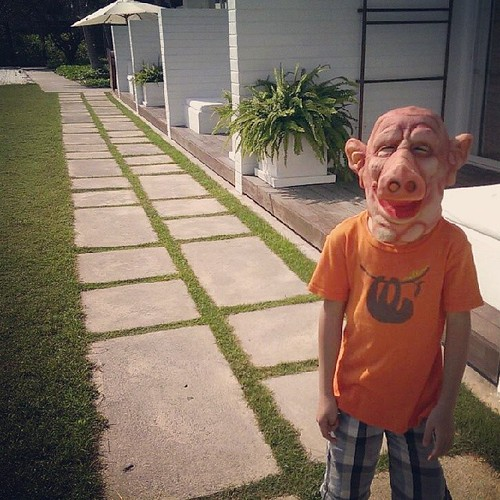 中午這位先生不怕中暑帶著豬頭皮在旅館裡逛大街。