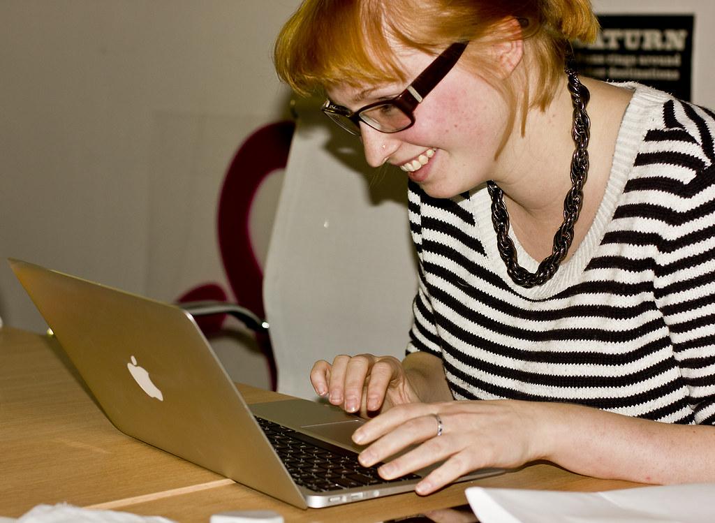 laura working laptop