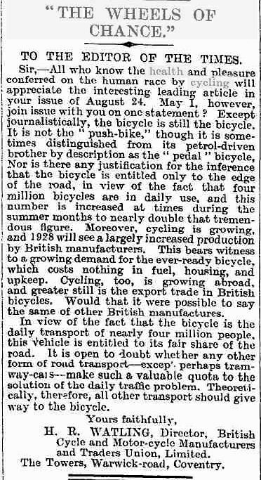 letter to The Times in 1928