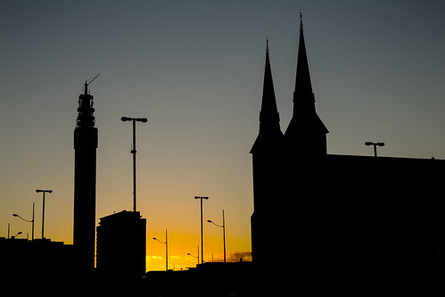 sunset sky tower evening birmingham glow spires spire bttower posts bt queensway lampposts stchadscathedral