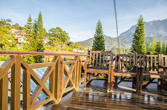 This is where we sit and admire the Mount Kinabalu in Pines Resort