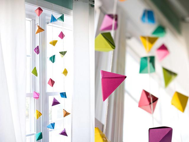 geometric origami garland
