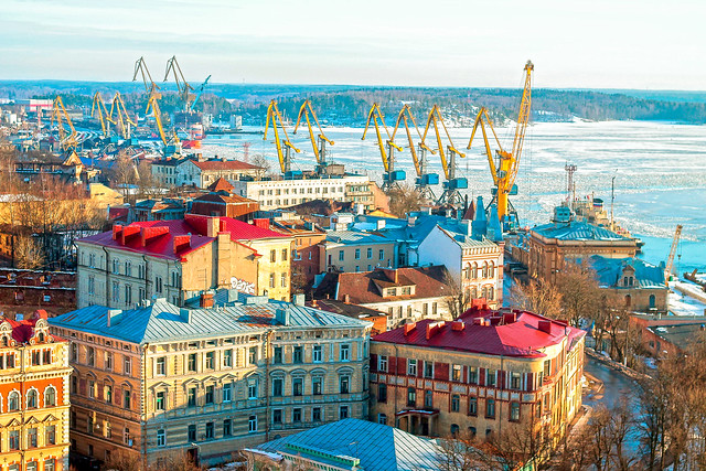 View of Vyborg from tower in the spring
