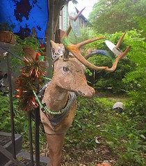 This is one of the many reasons I bought a touring bike. You won't see stuff like this driving. #cyclinglife #foundobjects #art #cycling #touringbike #salsamarrakesh @salsacycles @paulpetkoff #random #deer #yardart