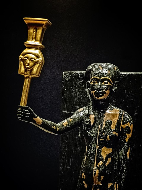 Closeup of Figure of Tutankhamun as the god Ihi with sistrum New Kingdom 18th Dynasty Egypt 1332-1323 BCE