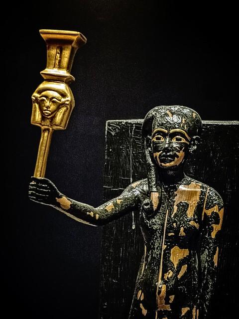 Closeup of Figure of Tutankhamun as the god Ihi with sistrum New Kingdom 18th Dynasty Egypt 1332-1323 BCE