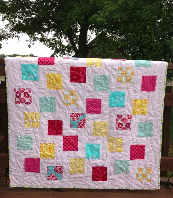 Bella's quilt, on rail