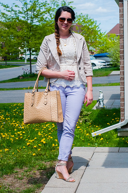purple jeans, lace shirt, beige jacket, wedge sandals