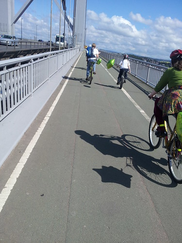 Unicycling across the bridge