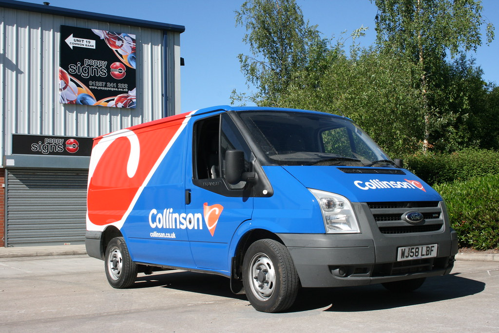 Vehicle wrap using colour change red, blue and white vinyl (previously a white van)