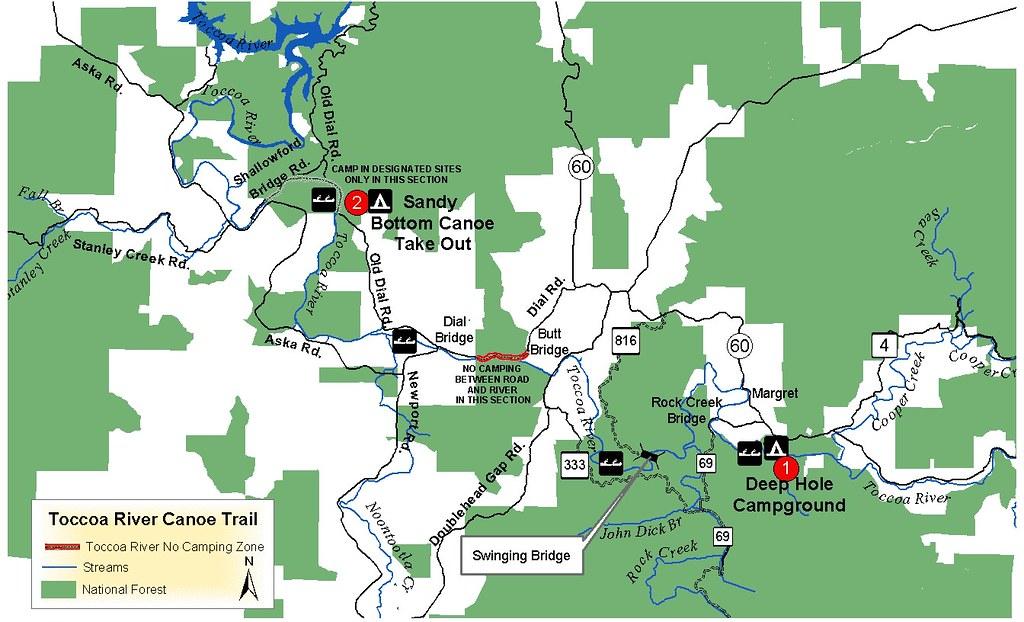 Toccoa river north georgia for Georgia trout fishing map