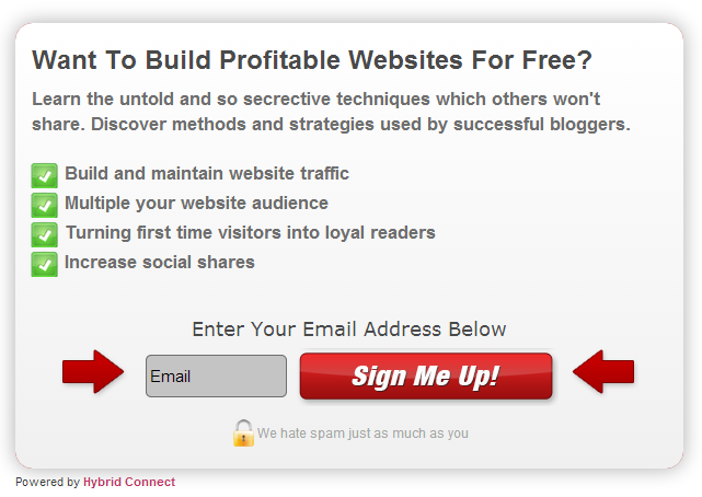 Placing featured call to action widget could easily grow email list