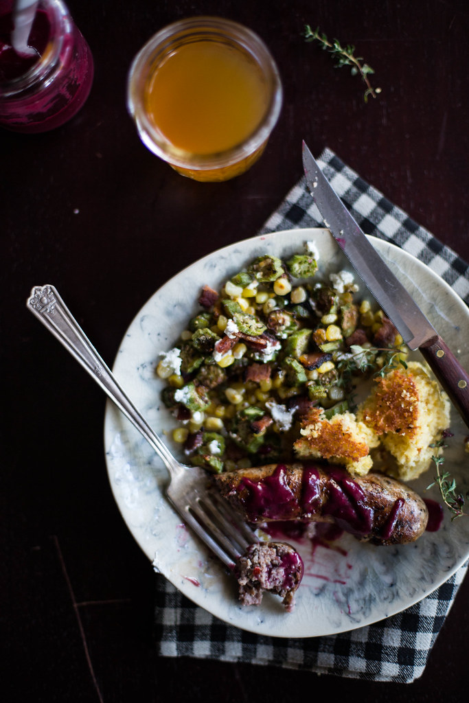 roasted corn & okra with chevre + grilled sausage in muscadine sauce