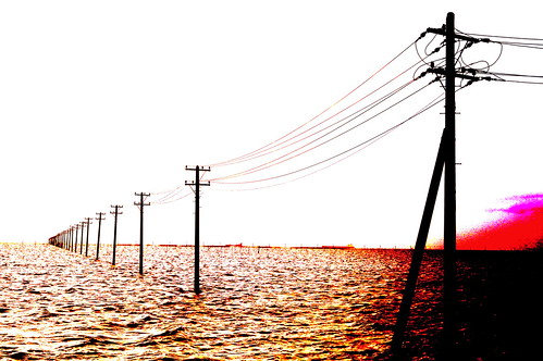 Posterization Color utility poles into the sea 07