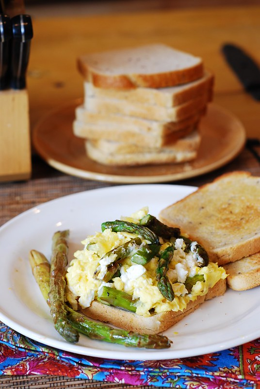 Breakfast sandwich: scrambled eggs, asparagus, and goat cheese