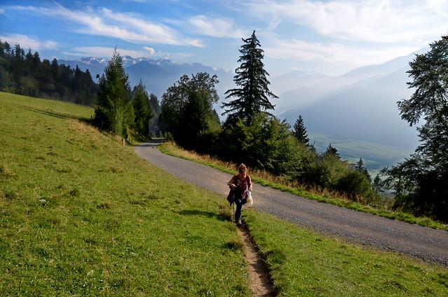 Paisaje camino de la casa de Heidi en Suiza