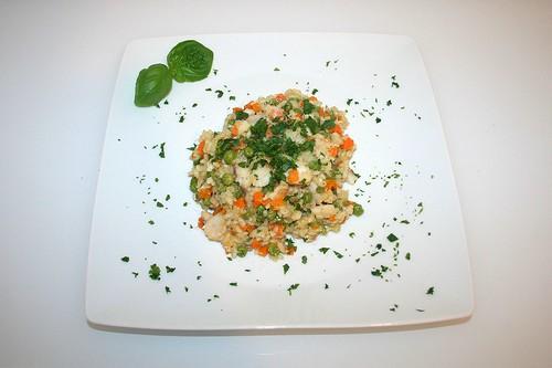 46 - Gemüse-Risotto mit Rotbarsch - Serviert / Vegetable risotto with redfish - Serviert