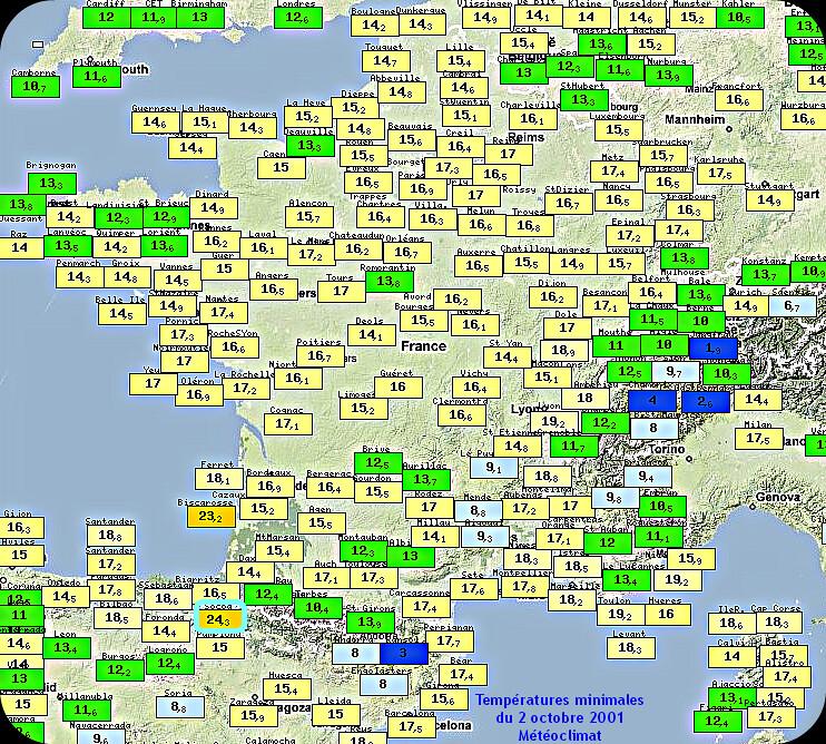 records de douceur des températures minimales du 2 octobre 2001 météopassion