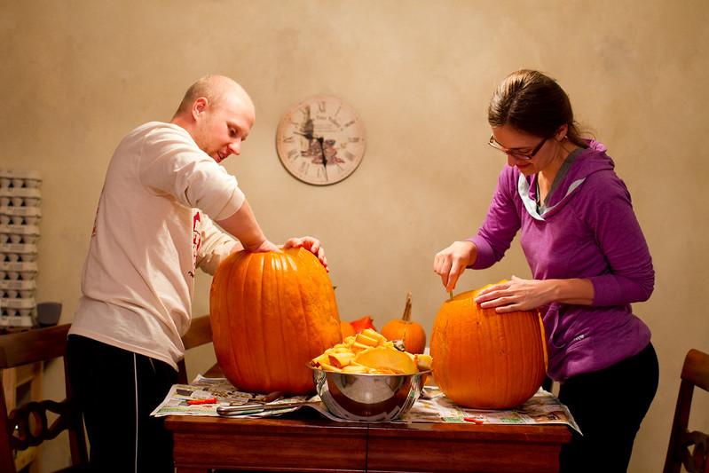 Sara & Patrick Carving Pumpkins