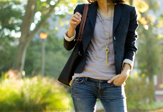 navy blazer, gray tee, tassel necklace