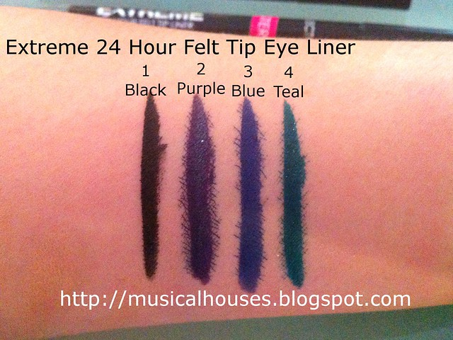 Collection Cosmetics 24 Hour Felt Tip Eyeliner Swatches