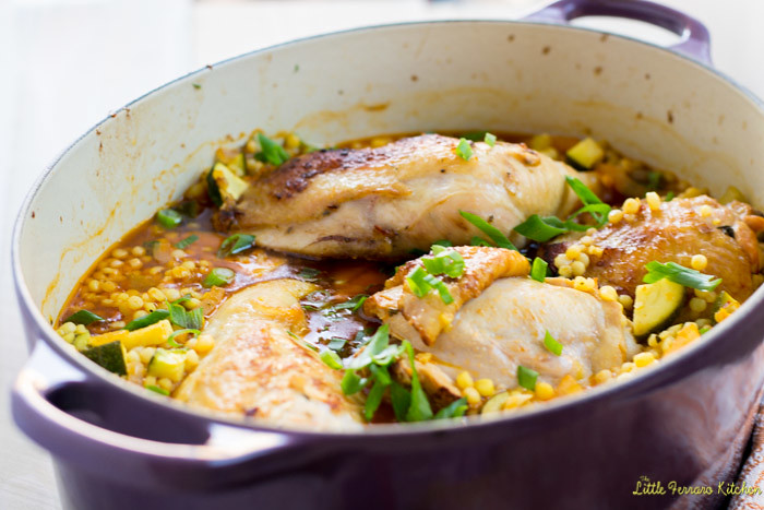 One Pot Garlic Chicken with Israeli Couscous via LittleFerraroKitchen.com
