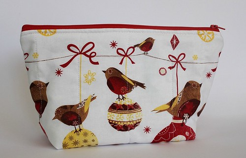 red bird zip pouch
