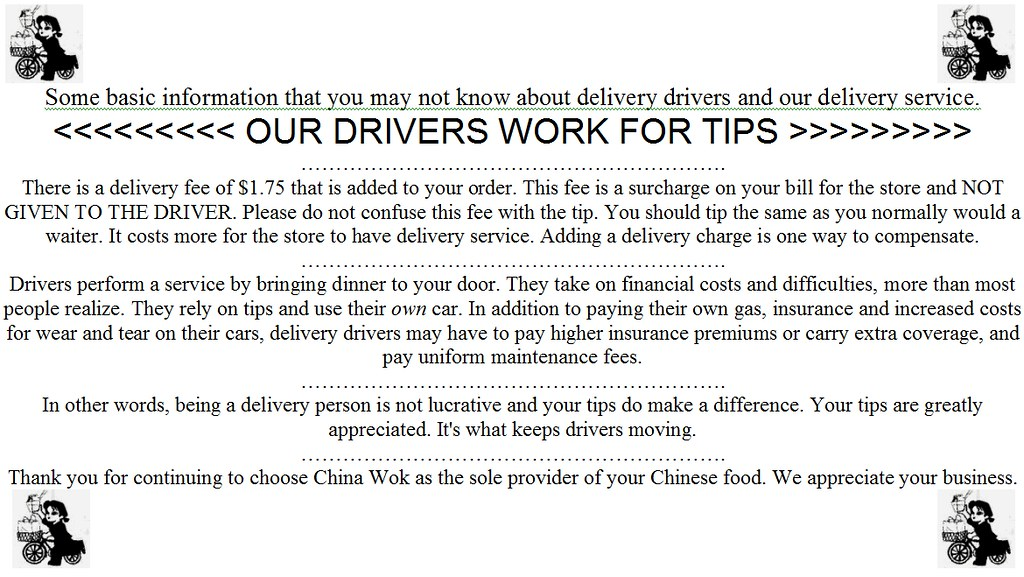 Tip Memo Given to Customers