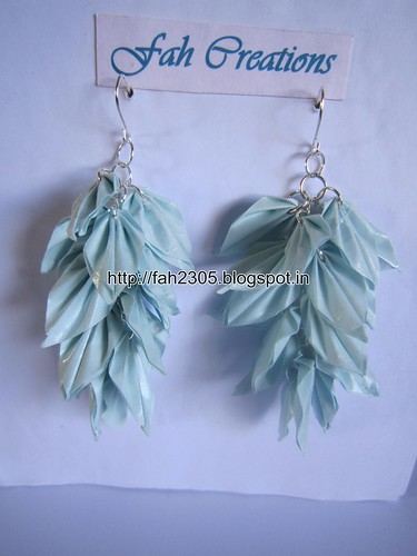 Handmade Jewelry - Origami Paper Leaves  Earrings (Sky Blue) by fah2305