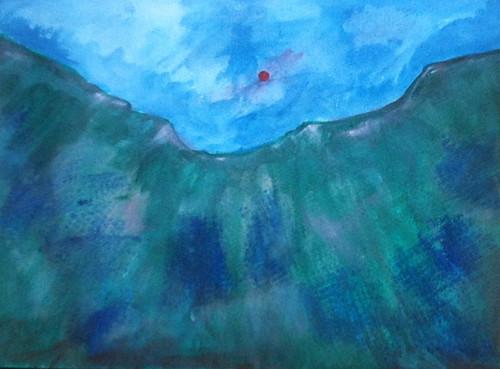 Sun and Ridge (Acrylic Water Media as of Dec. 26, 2013) by randubnick