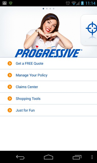 Old Progressive app welcome screen on Android