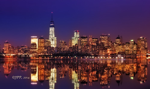 View of Lower Manhattan at twilight from Port Liberte, Jersey City