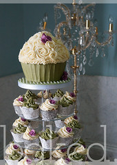Elegant Sage and Cream Wedding Cupcake Tower