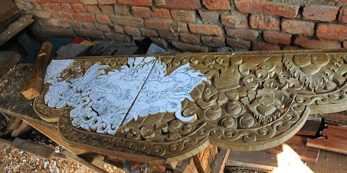Wood carving for a lama's throne in progress, paper cartoon over wood, Zephr, Boudha, Kathmandu, Nepal by Wonderlane