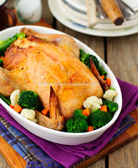 Whole Roast Chicken Stuffed with Bread and Cheese…