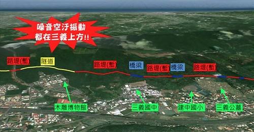 三義外環道設置路線示意圖。圖片來源:三義外環道.鄉民要知道粉絲頁http://goo.gl/ybuKwX