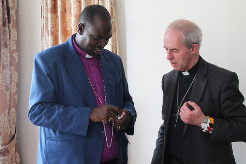 The Archbishop of Canterbury exchanging gifts with The Most Rev. Jackson Ole Sapit