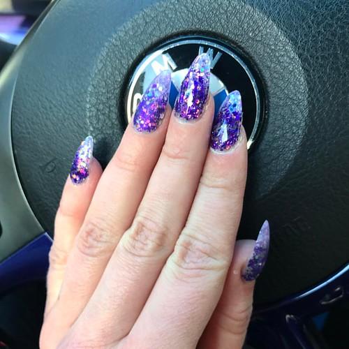 New Nailsdesign! Ready for @bmw330d_purplebeast time! #nails #nail #fashion #style #TagsForLikes #cute #beauty #beautiful #instagood #pretty #girl #girls #stylish #sparkles #styles #gliter #nailart #art #purple #photooftheday #purplebeast #purplenails #bm