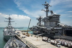 USS Carl Vinson (CVN 70), USS Wayne E. Meyer (DDG 108), and USS Lake Champlain (CG 57), foreground, sit along the pier at Changi Naval Base, April 4. (U.S. Navy/MC2 Z.A. Landers)