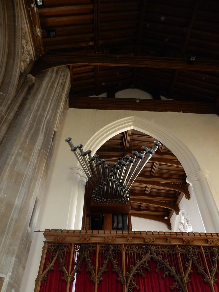 Weird organ Saffron Walden church. Great Chesterford to Newport