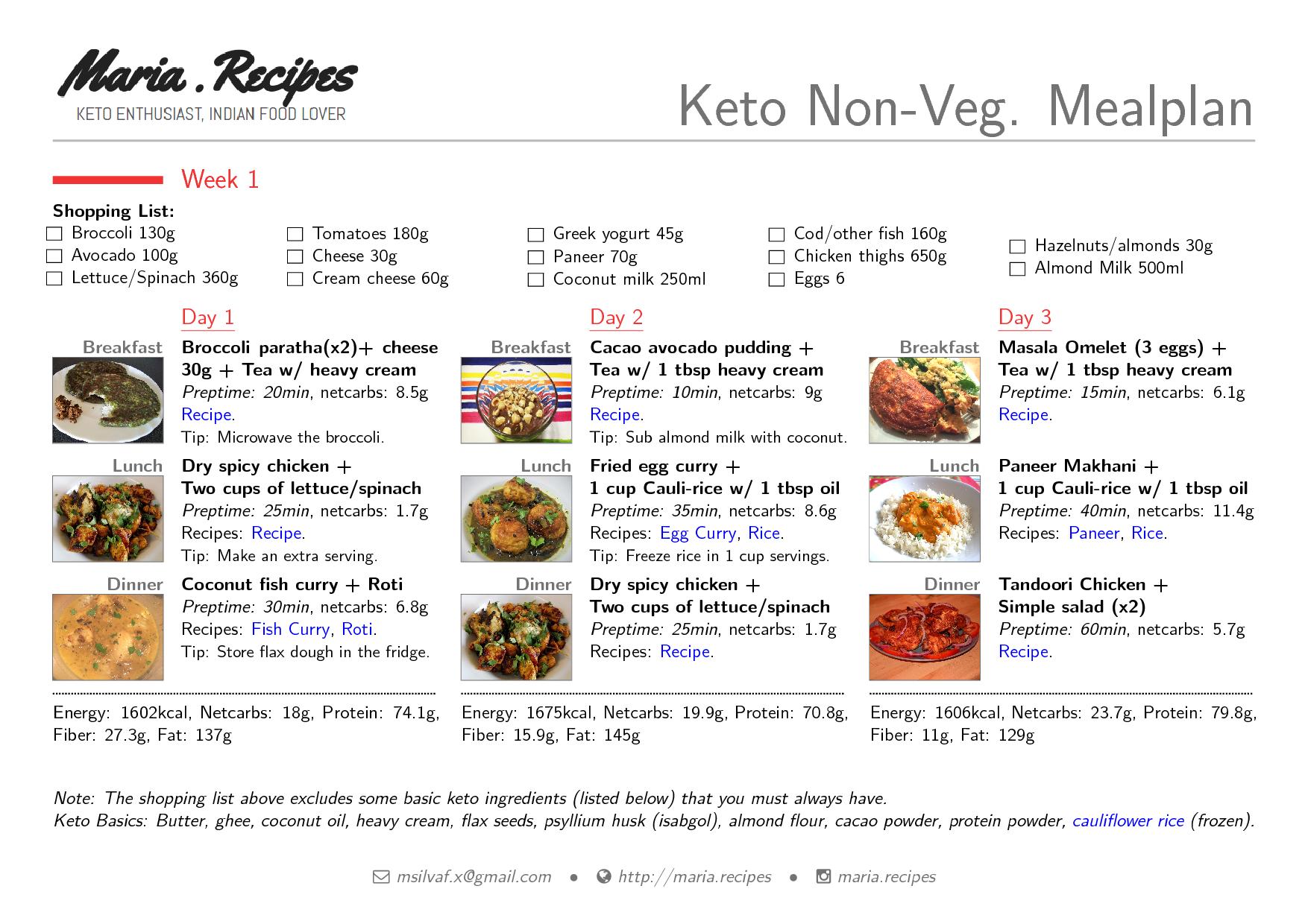 Indian Nonveg Meal Plan Maria Recipes Keto Enthusiast Indian