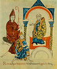 King [Holy Roman Emperor Henry IV ] prays to abbot [Hugh of Cluny], and pleads with Matilda [of Canossa], from Vita Mathildis, c. 1115