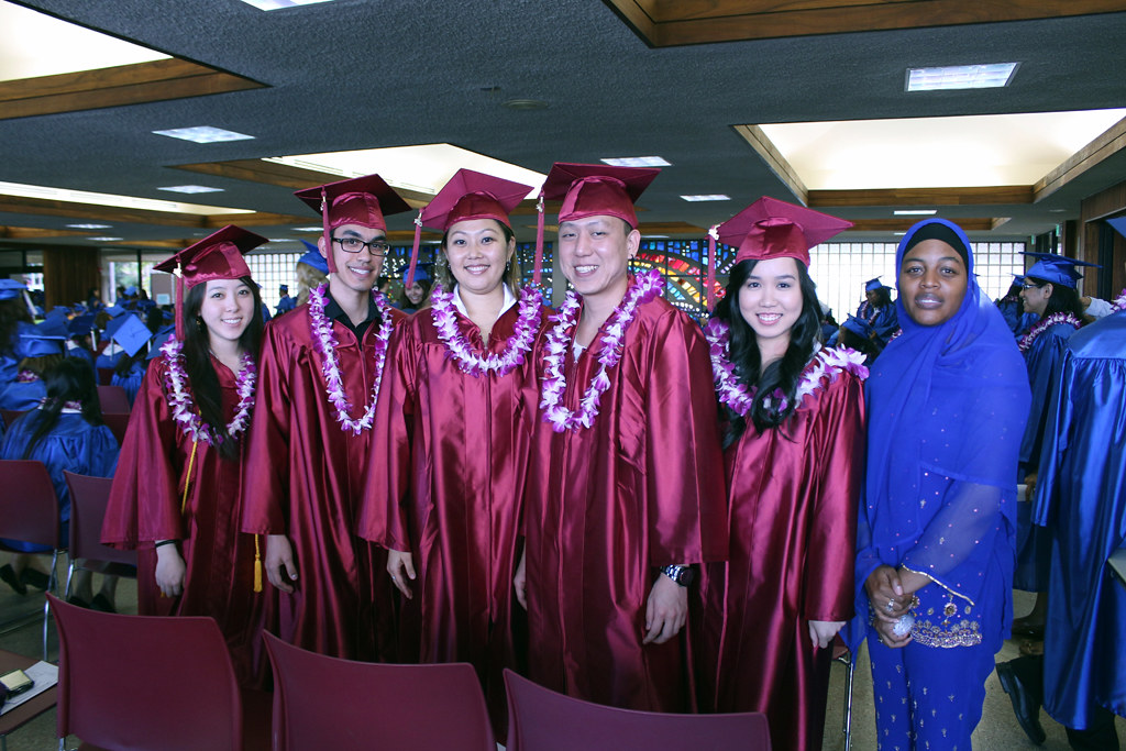 <p>Kapiolani Community College graduates at the campus' commencement ceremony on  The Great Lawn. May 10, 2013</p>