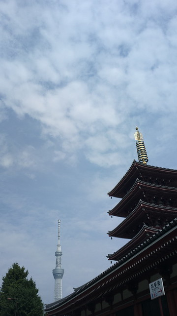 Two towees: Tokyo Sky Tree and Senso-ji temple's pagoda